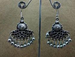 Alloy Silver Oxidised Earrings