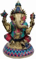 Brass Mukut Ganesh Statue Stone Work Item