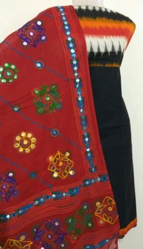 Cotton Casual Wear 3d Ikkat Salwar With Kutch Dupatta