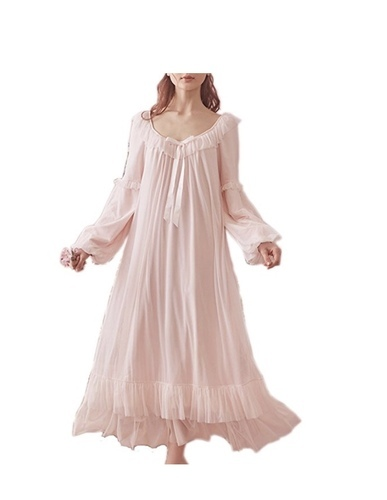 313b7d0fc4 Women  s Vintage Victorian Nightgown Long Sleeve Sheer Sleepwear Pajamas  Nightwear Lounge Dress