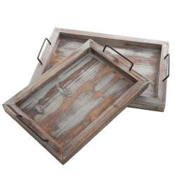 Natural Finish Antique Wooden Serving Tray, Shape: Rectangle, Size: 14x10x1.5 Inch