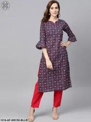 Straight Round Neck Nayo Indigo Blue Multi Colored Printed Kurta Set, Size: XS-XXXL