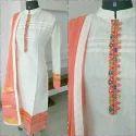 Medium And Large White And Orange Ladies Neck Designer Kurti