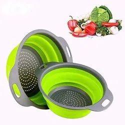 Foldable Collapsible Silicone Colander Fruit Vegetable Strainer Washing Basket (2PCS)