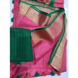 5.5 m (separate blouse piece) Party Wear Ladies Cotton Chiffon Saree, Packaging Type: Packet