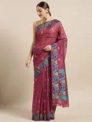 Burgundy Silk Cotton Woven Design Jamdani Saree
