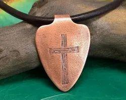 Copper Cross Pendant Necklace, Size: 3inch