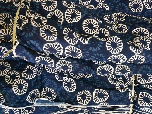 Indigo Printed Fabric for Dresses, GSM: 50-100