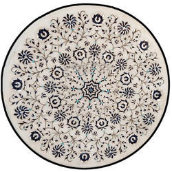 Round Marble Stone Inlay Coffee Table Top, Inlay Table Top