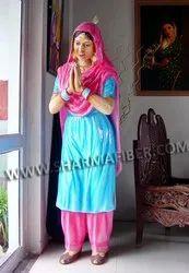 Punjabi Welcome Lady Fiber Statue