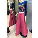 Full Sleeves Blue And Pink Embroidered Lehenga