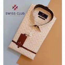 Men Collar Neck Swiss Club Mens Formal Party Wear Printed Shirt