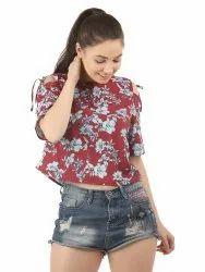 Girls Floral Printed Cold Shoulder Top