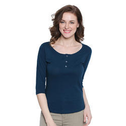 d4d60ee13f790 Women s T Shirts - Women 100% Cotton Solid Blue Henley T-shirt ...