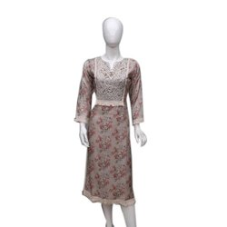 Casual Wear 3/4th Sleeve Ladies Fancy Cotton Kurti, Size: S-XXL, Wash Care: Machine wash