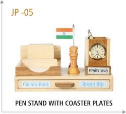 Wooden Pen Stand With Coaster