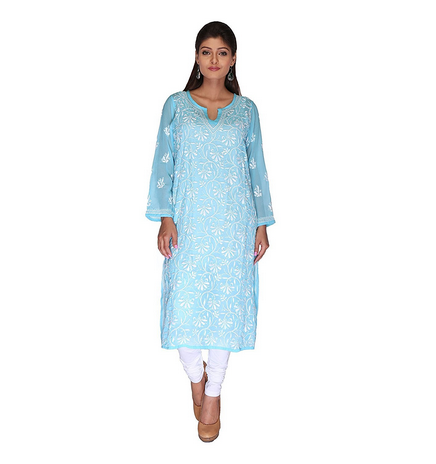 de806682265 Lucknowi Chikankaari Sky Blue Casual Straight Kurti