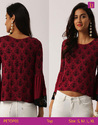 Ladies' Blouses & Tops Round Neck Long Sleeves Printed Knit Top Bell Sleeves Top Knitted Top