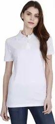 White Plain Cotton Polo Neck T Shirt