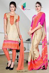 Light Brown and Pink Italian Crepe Uniform Saree Kurti Combo