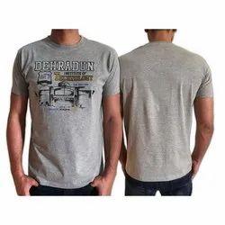Printed Lycra Cotton Mens Sports Round Neck T shirt, Size: S-XXL
