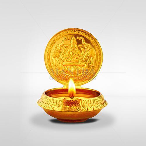 Gold Plated Gajalakshmi Lamp