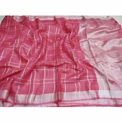 Linen Check Peach Saree, Length: 6.40 m