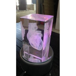 Crystal Cube Human Heart Gift