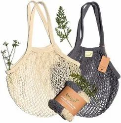 Handled Natural Cotton Mesh Grocery Tote Bags