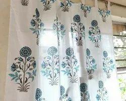 Loop 100% Cotton Block Printed Window Curtains