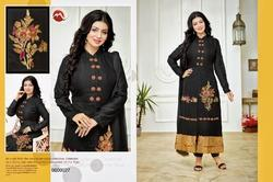 Black Full Sleeve Moof Salwar Suit