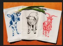 Cotton Farm Animal Placement Print Tea Towel Set
