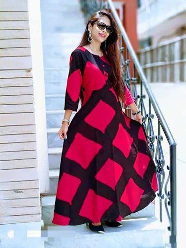 643faa09d04 Vedika Overseas Red Rayon Straight Long Dress With Jacket Style   Glod  Bandal Print