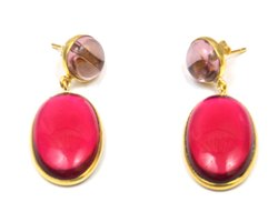 Rubellite  Quartz &  Amethyst Quartz  Stud Earring with Gold Plated