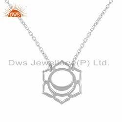 White Rhodium Plated 925 Silver Indian Svadisthana Chakra Pendant