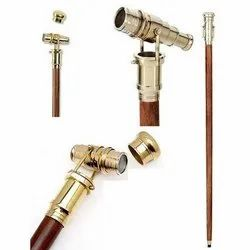 Wood And Brass Wooden Walking Stick With Folding Telescope