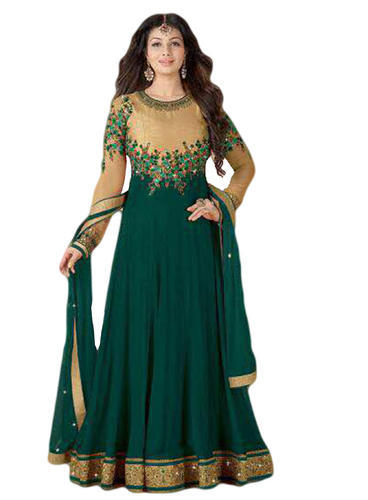 Party Wear Semi-Stitched Anarkali Style Suits Dress Material at Rs ...