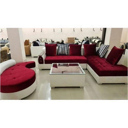 White And Red L Shape Sofa For Home