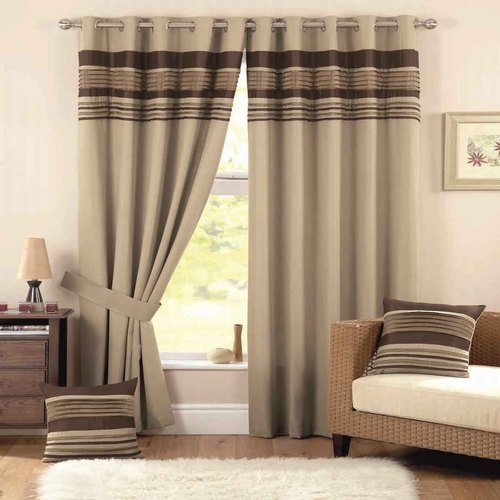 Polyester Brown Living Room Window, Living Room Curtain