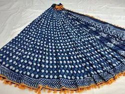 Natural Dabu Indigo Hand Block Printed Cotton Saree