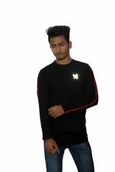 Black with Red Cotton T Shirts