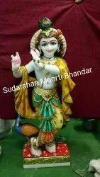Traditional Marble Krishna Statue