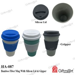 Bamboo Fiber Mug with Silicon Lid & Gripper, for Office