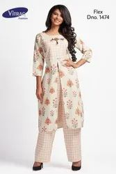 Vitrag Handloom Cotton Floral Printed Kurti with Pants