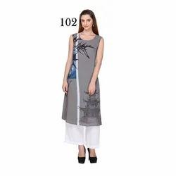 Designer Printed Sleeveless Kurti