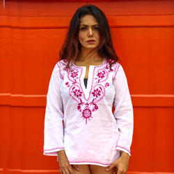 Cotton White Full Sleeve New Beautiful Neck Embroidery Design Pattern Short Tunic