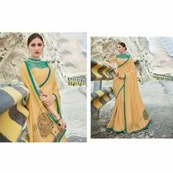 Printed Party Wear Silk Saree, With blouse piece