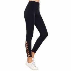 Black Ladies Plain Leggings, Size: Free Size