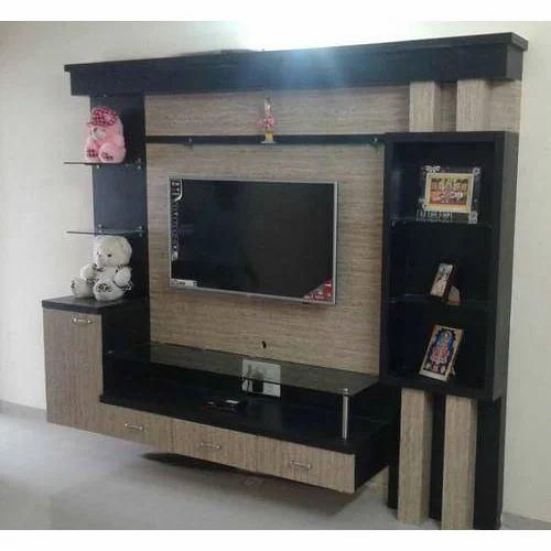 Designer wooden lcd tv stand khalsa furnishers - Led panel designs furniture living room ...