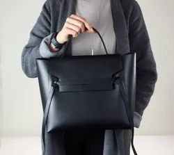 Tocco Black Leather Shopping Bag